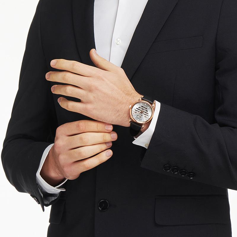 Armani阿玛尼官方正品机械表男 简约时尚商务皮带男士手表AR60031