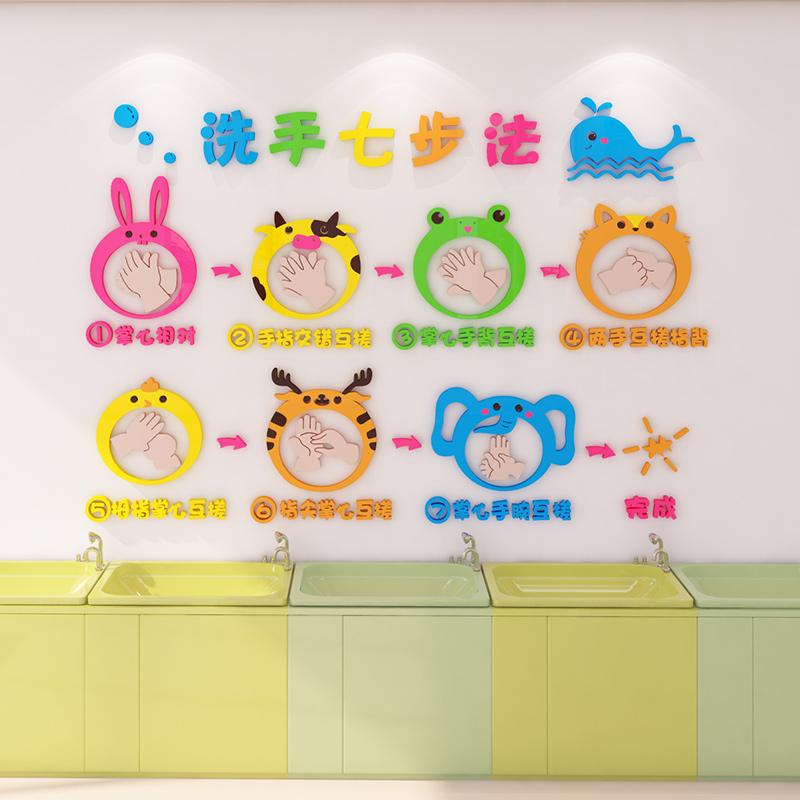 幼儿园洗手步骤示意图片墙贴画防疫七步法卡通亚克力墙面装饰防水
