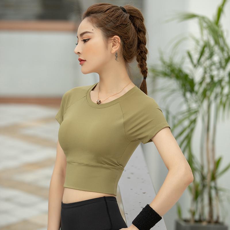 浪莎运动短袖女新款带胸垫紧身衣瑜伽服T恤春夏套装短款健身上衣
