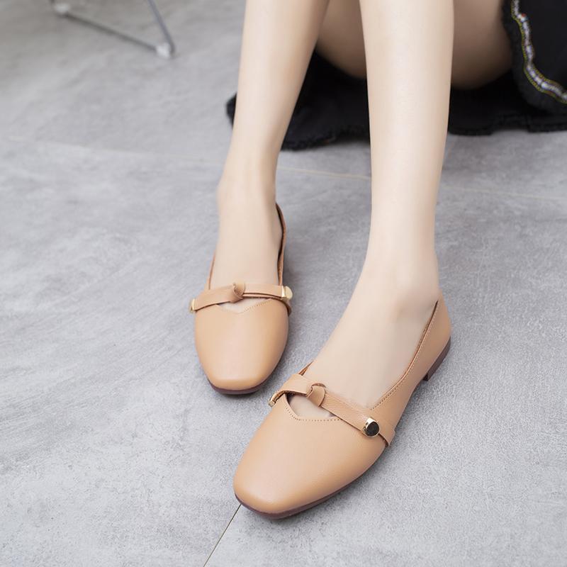 女鞋子低帮鞋韩版学生时尚浅口粗跟单鞋甜美奶奶鞋懒人鞋 2018 新品