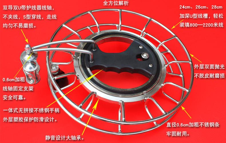 潍坊风筝 不锈钢风筝轮 静音设计大轴承 握轮 钢条轮 包邮