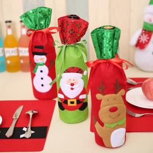 新款圣诞节用品 圣诞亮片刺绣酒瓶袋圣诞老人酒袋