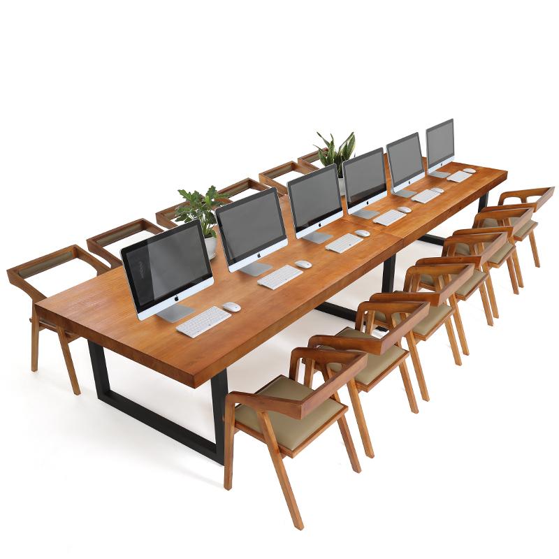 大型實木會議桌長桌簡約現代長條接待桌椅組合洽談桌辦公桌子 loft