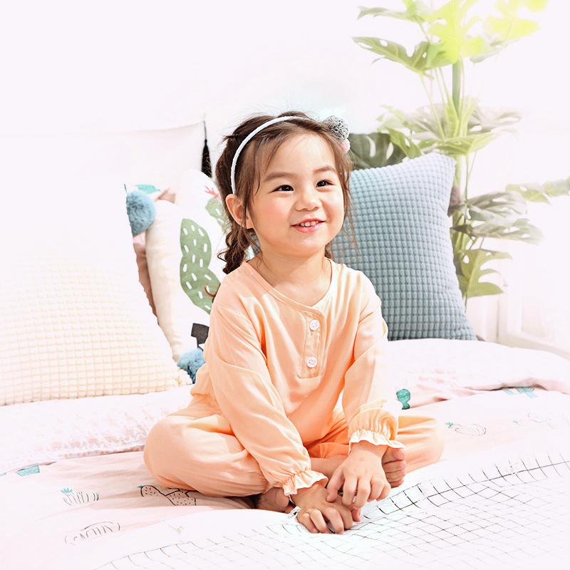夏季儿童绵绸睡衣公主女童薄款棉绸家居服女孩子宝宝夏天长袖套装