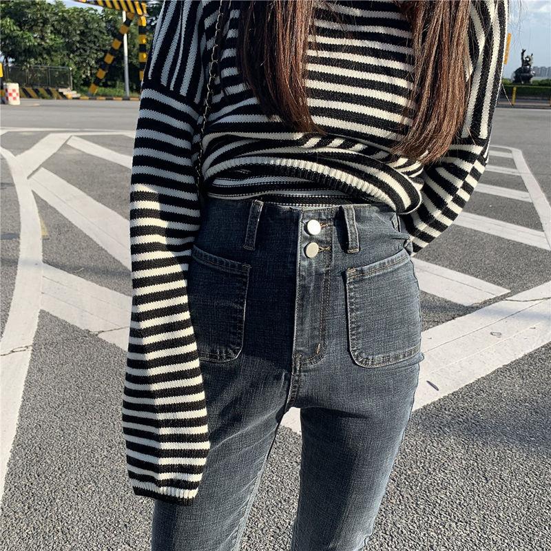 秋季高腰小脚牛仔裤女春秋2020年新款黑色显瘦显高九分紧身裤子潮