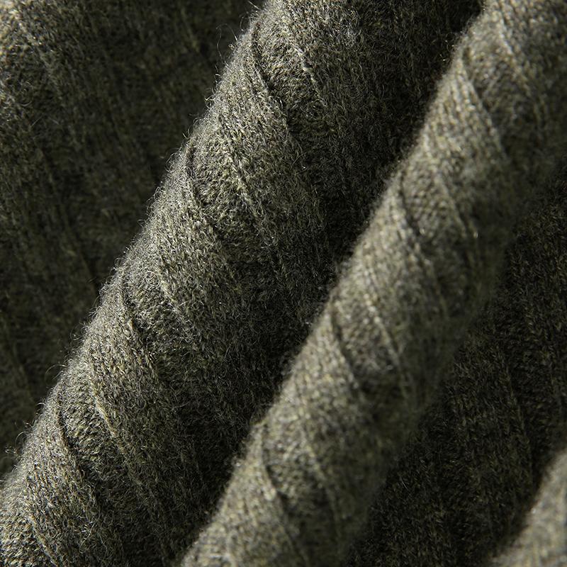 口袋针织套头衫 高领坑条 一体成型 纯羊绒 ZZ1012102 ^戎美 ^