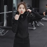 Autumn and winter Slim thin female sports jacket hooded jacket 2019 new treadmill breathable long sleeve yoga clothes