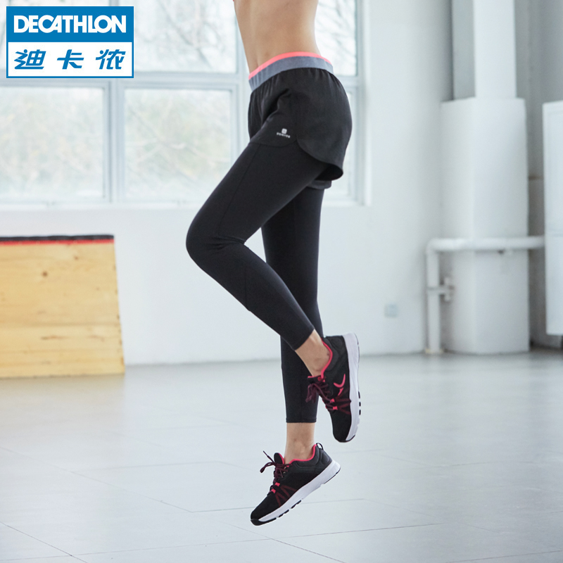 WE FIC 迪卡侬官方旗舰店紧身裤女假两件弹力健身瑜伽跑步运动薄款