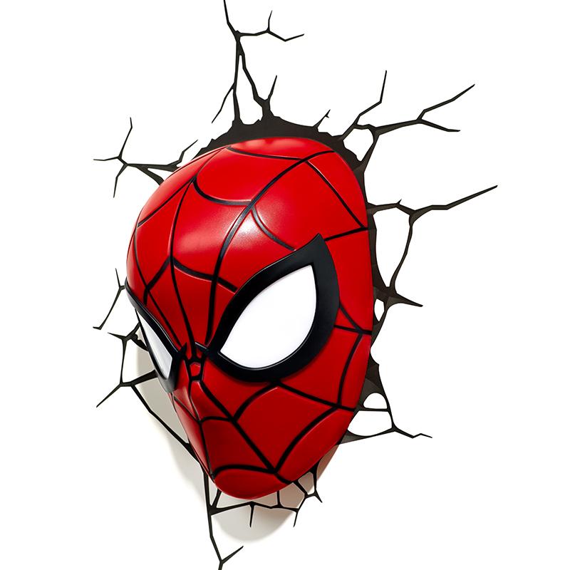 小夜灯影迷生日礼物 LED 创意壁灯 3D 复仇者联盟漫威超凡蜘蛛侠头手