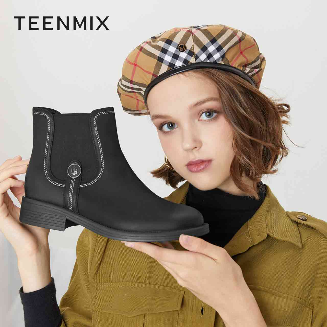 电影501DD9 冬季 2019 天美意切尔西靴女英伦及踝短靴 商场同款