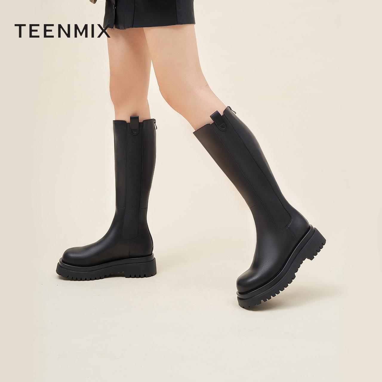 GX009DG0 冬新款加绒高筒骑士靴女 2020 天美意厚底长筒切尔西靴女