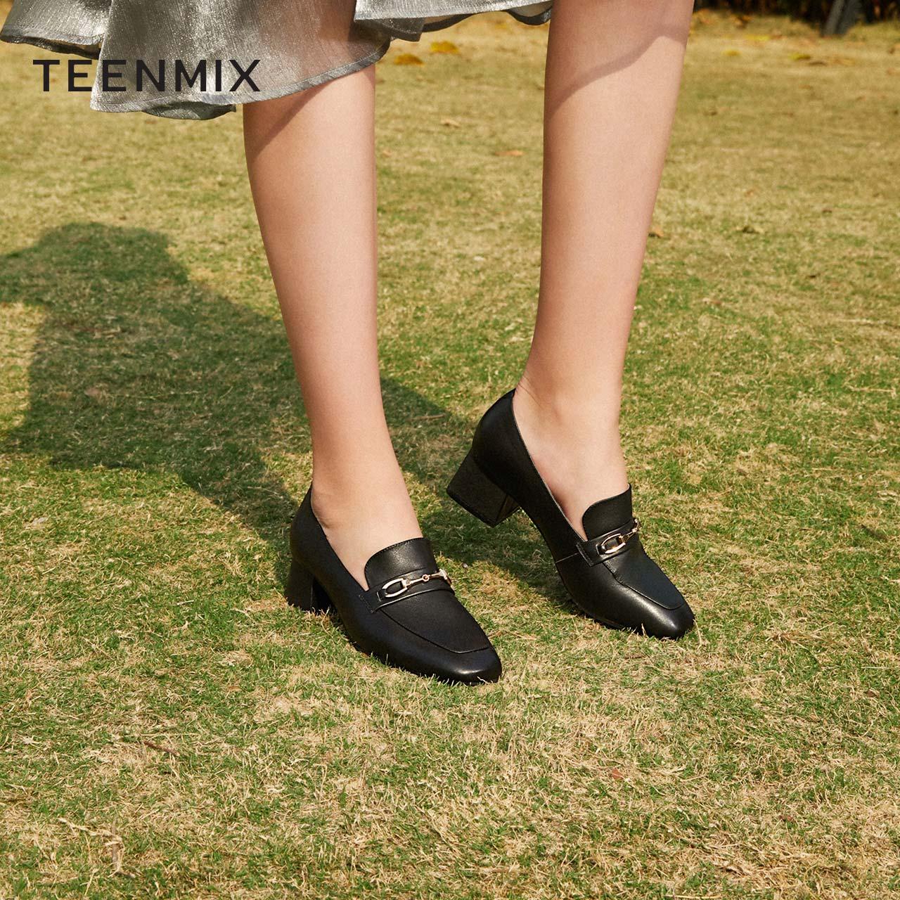 T9892AQ0 春季新款英伦复古单鞋 2020 天美意粗跟马衔扣乐福鞋女方头
