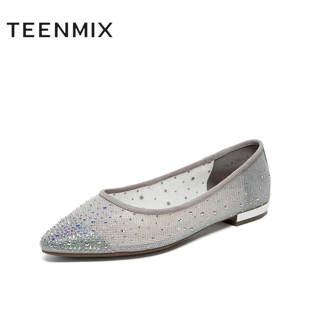 XNF04AQ0 春夏 2020 天美意浅口幻彩水钻平底单鞋女仙女风商场同款