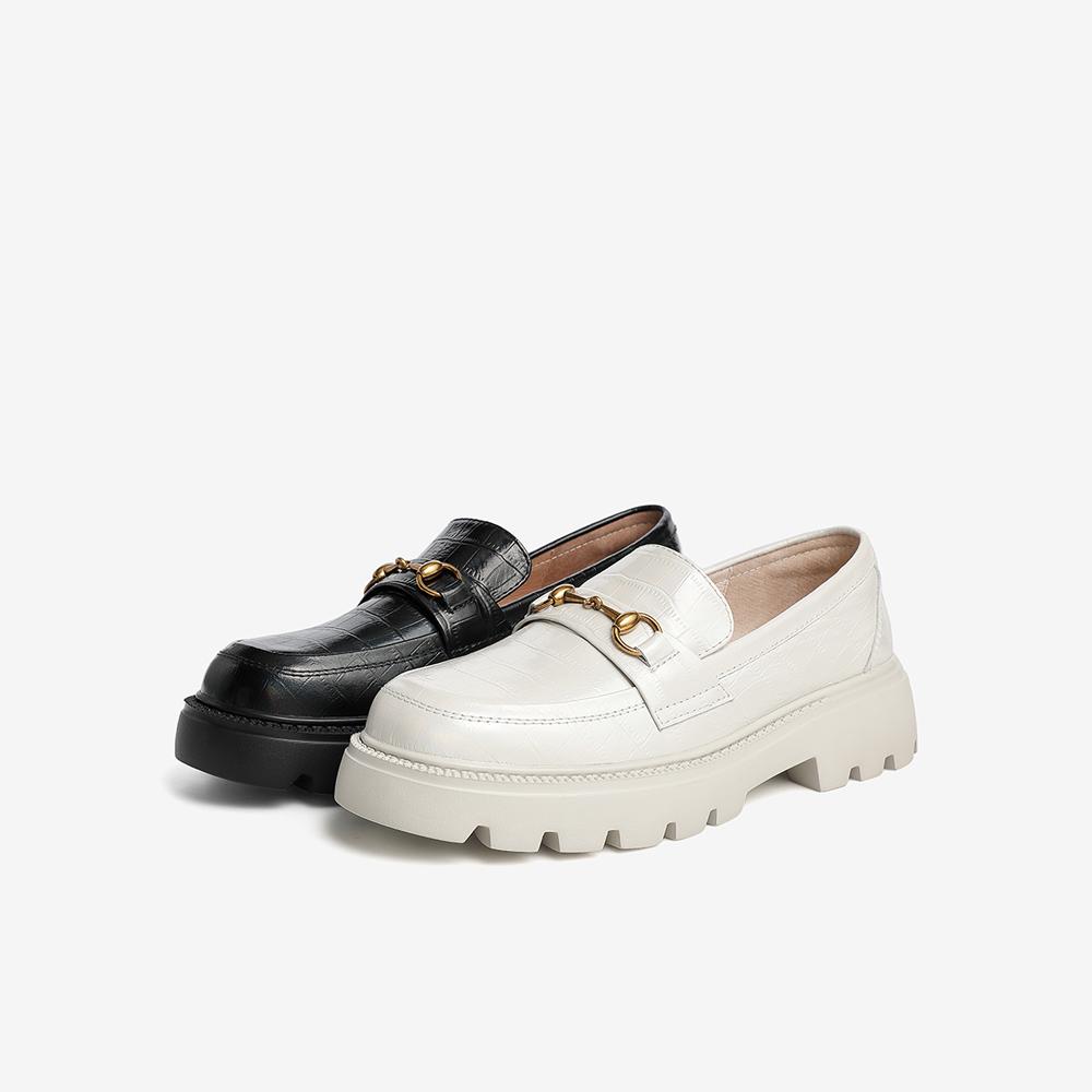 WXZ02AA1 新款春 2021 他她乐福鞋女中跟一脚蹬休闲皮鞋百搭厚底 Tata
