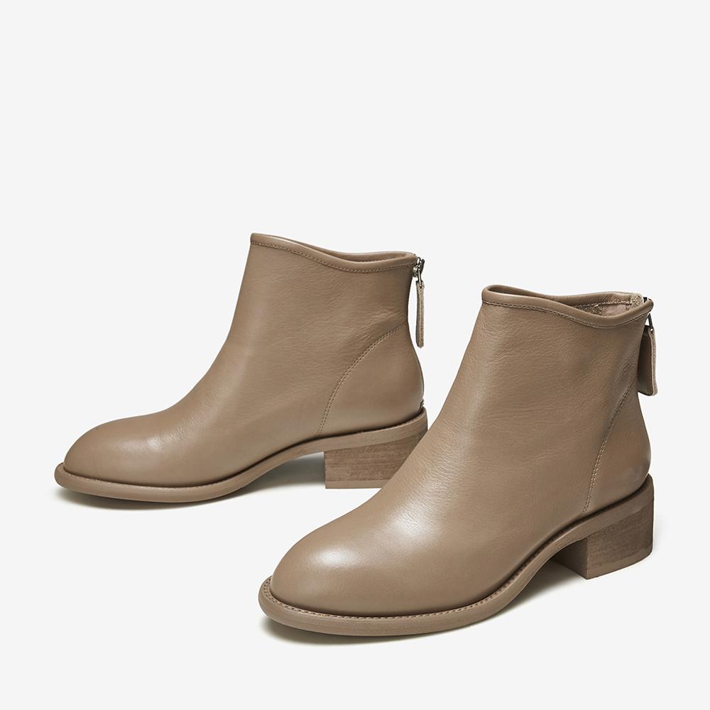 WCT01DD9 冬专柜同款牛皮革通勤踝靴短筒中跟女靴 2019 他她 Tata