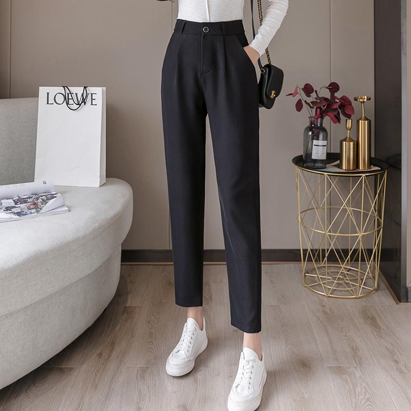 垂感西装裤女夏季薄款高腰显瘦黑色裤子直筒九分烟管裤小脚哈伦裤