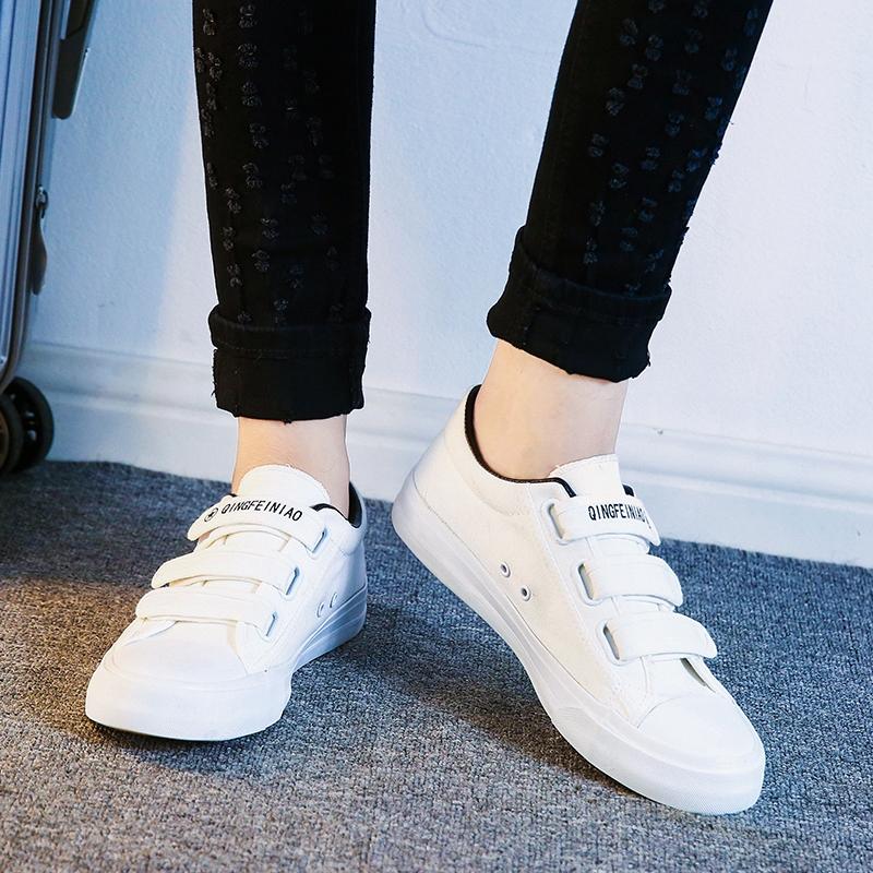 春季帆布鞋男魔术贴休闲鞋韩版潮流板鞋子百搭男鞋初中学生小白鞋