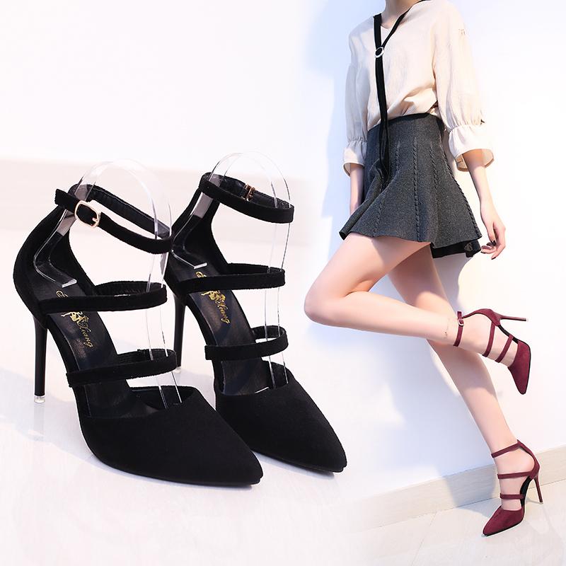 春夏绒面一字扣带女鞋浅口单鞋绑带超高跟姓感尖头细跟凉鞋女婚鞋
