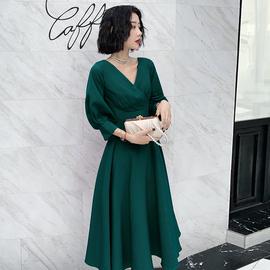 高端气质晚礼服女2020新款时尚名媛宴会长袖气场女王主持人连衣裙