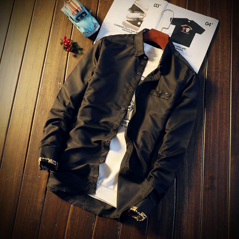 春秋男士长袖衬衫青年韩版修身潮流时尚日系白衬衣商务寸衫上衣优惠券图片