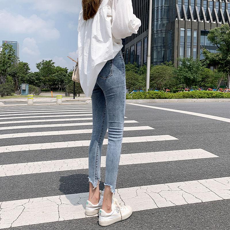 九分女士牛仔裤女2019秋季新款高腰韩版紧身显瘦百搭显高小脚裤潮