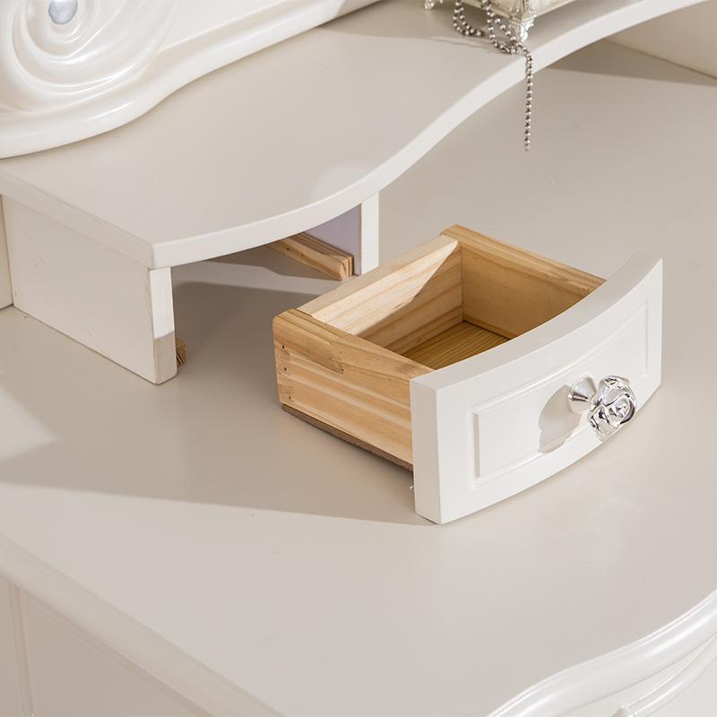 梳妆台卧室 欧式实木田园简约化妆台法式小户型雕花化妆桌家具