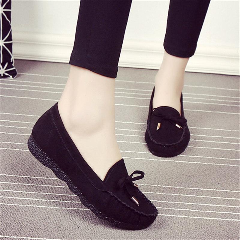 老北京布鞋女單鞋平底透氣豆豆鞋軟底工作鞋黑色圓頭蝴蝶結休閒鞋