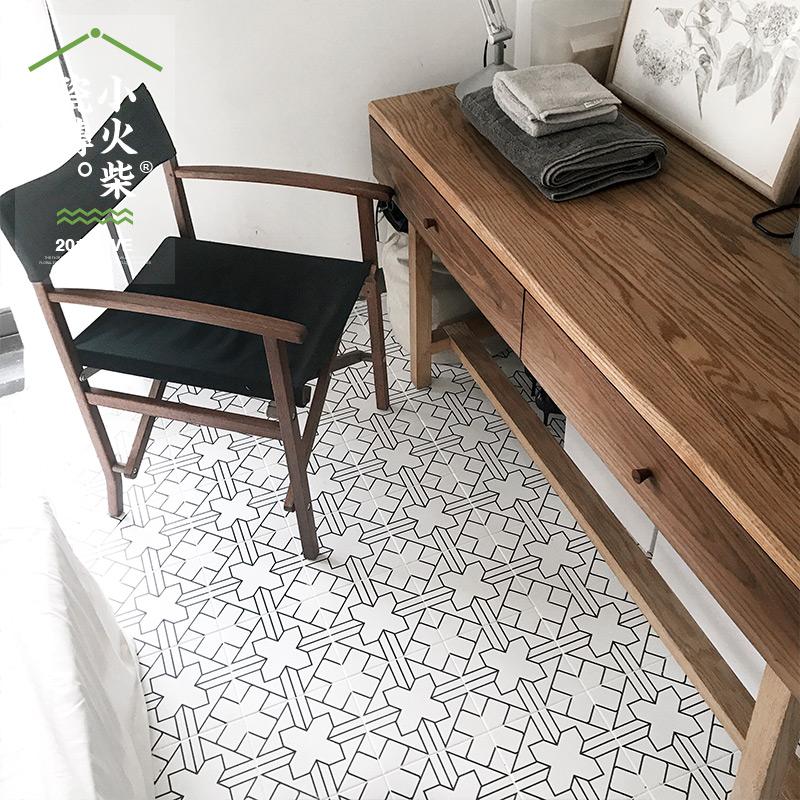 小火柴防滑简约线条复古花砖厨房瓷砖卫生间墙砖客厅仿古地砖200