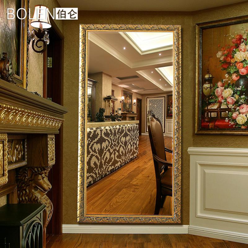 BOLEN 带支架穿衣镜子 全身镜落地镜装饰镜欧式试衣镜子服装店镜