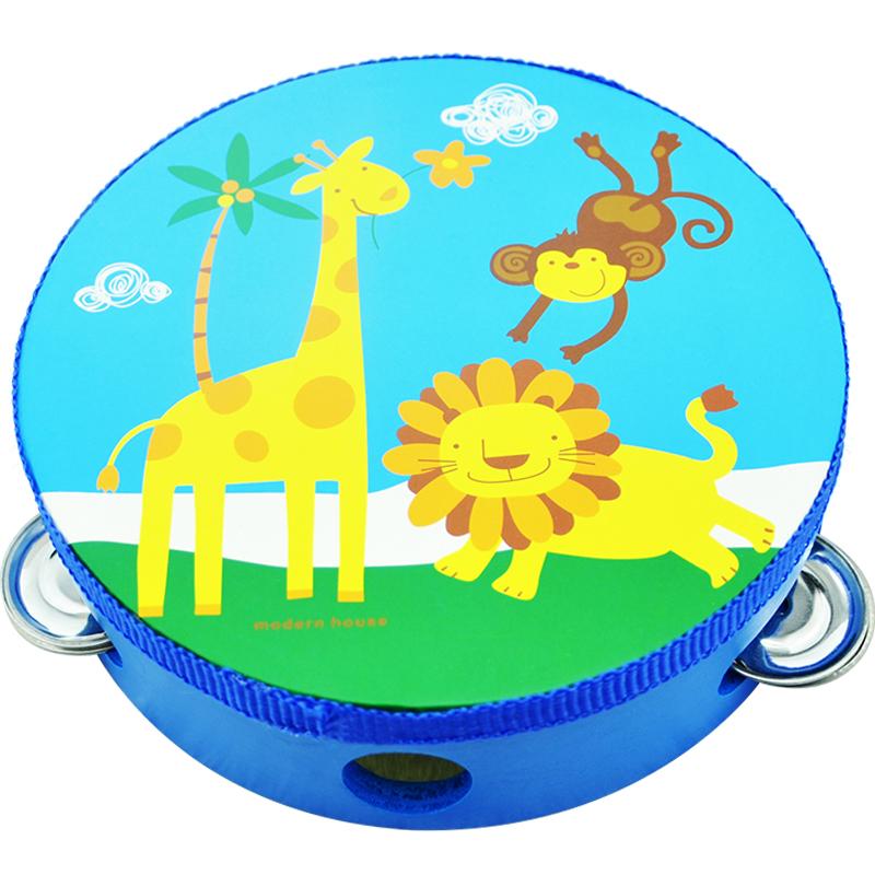 木质儿童手拍铃鼓打击乐器手摇铃鼓大小手铃鼓幼儿园用表演手鼓