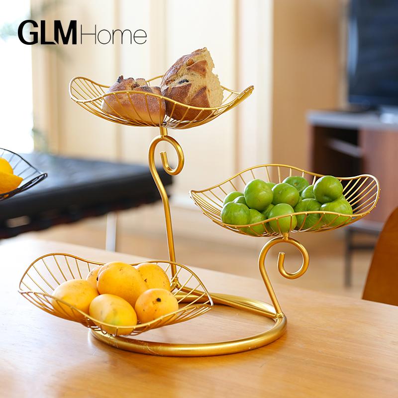 北欧轻奢网红铁艺水果盘现代简约家用客厅茶几零食盘创意餐厅装饰