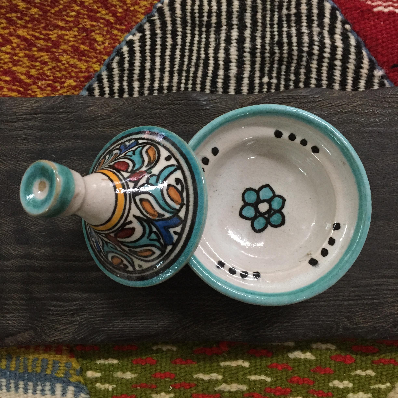 摩洛哥 彩绘塔吉锅 魔法白鼠尾草燃烧道具 仪式家居装饰摆件
