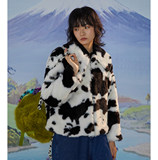 Leele19aw winter holiday cow pattern thick plush long-sleeved fur coat