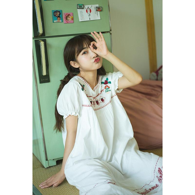 NNK布偶娃娃草莓浆果刺绣小个子日系可爱学院风花边短袖连衣裙女