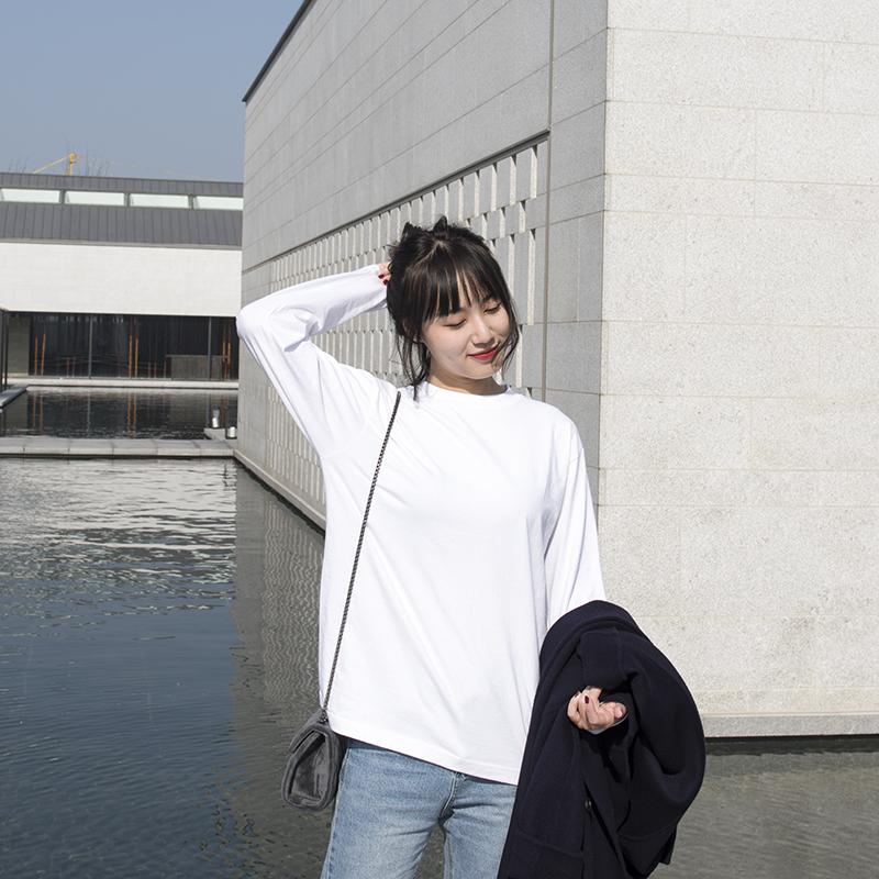 白色长袖t恤女纯棉内搭卫衣打底衫宽松上衣叠穿白t洋气春秋纯白的