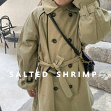Salted egg small shrimp custom Korean autumn dress girl Korean windbreaker jacket baby foreign style long coat