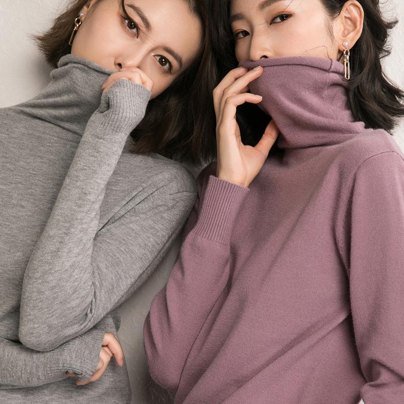 【加厚毛衣】毛衣女套头高领秋冬短款宽松毛衣外穿堆堆领针织衫
