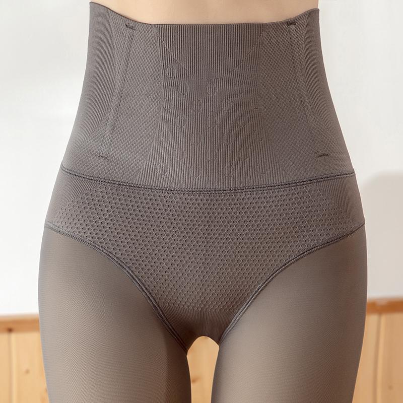 秋冬裸感高腰收腹光腿打底神器女假透肉空姐灰一体透肤裤加绒加厚