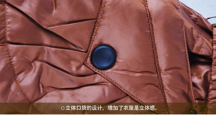 威鹏时尚过膝羽绒服女加厚长款修身显瘦咖啡色鸭绒服外套女318602