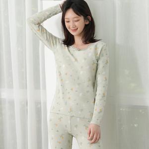 女士秋季纯棉保暖内衣套装