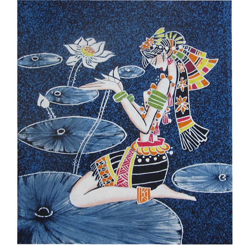 云南特色手绘蜡染民族风家用饰品酒店咖啡厅扎染装饰背景蓝染画芯