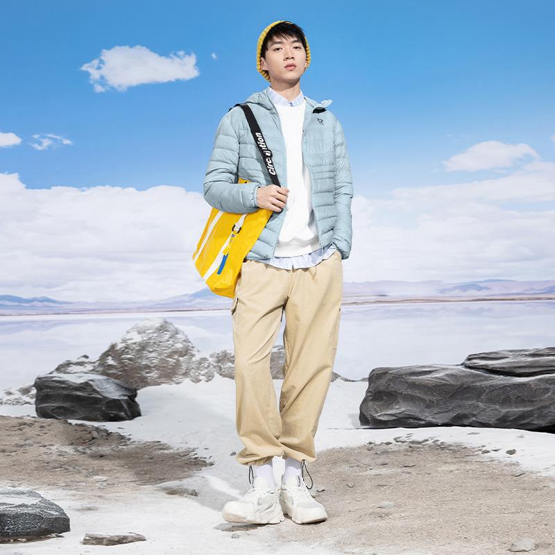 双11预售361度羽绒服男士2021冬季男轻薄羽绒服保暖连帽羽绒外套