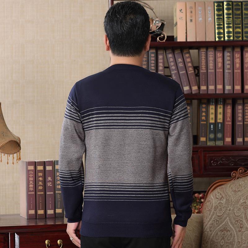 爸爸加绒加厚毛衣男中老年圆领针织衫男中年加厚毛衫2019新款冬装