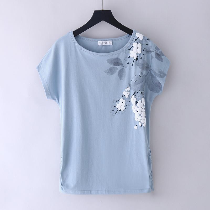 2021新款夏装白色纯棉t恤女短袖宽松中年妈妈气质上衣洋气老人衫主图