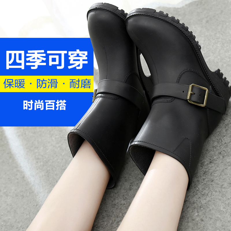 春秋夏季成人雨鞋女士雨靴套鞋防滑水鞋女加絨中筒雨鞋女黑色保暖