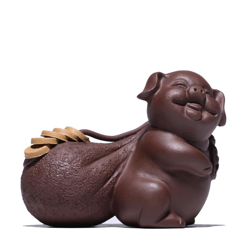 紫砂茶宠物摆件精品可养变色生肖招财福猪创意茶道茶具茶玩摆件