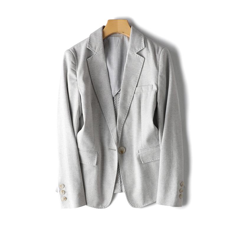 福利~大写的值岛国精品夹花色系舒适棉麻一粒扣修身显瘦西装外套