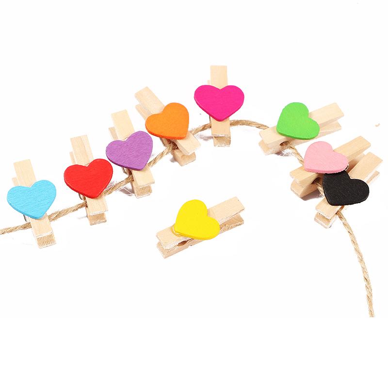 包邮50个彩色爱心夹婚礼小木夹照片夹子带麻绳相片夹照片墙3cm