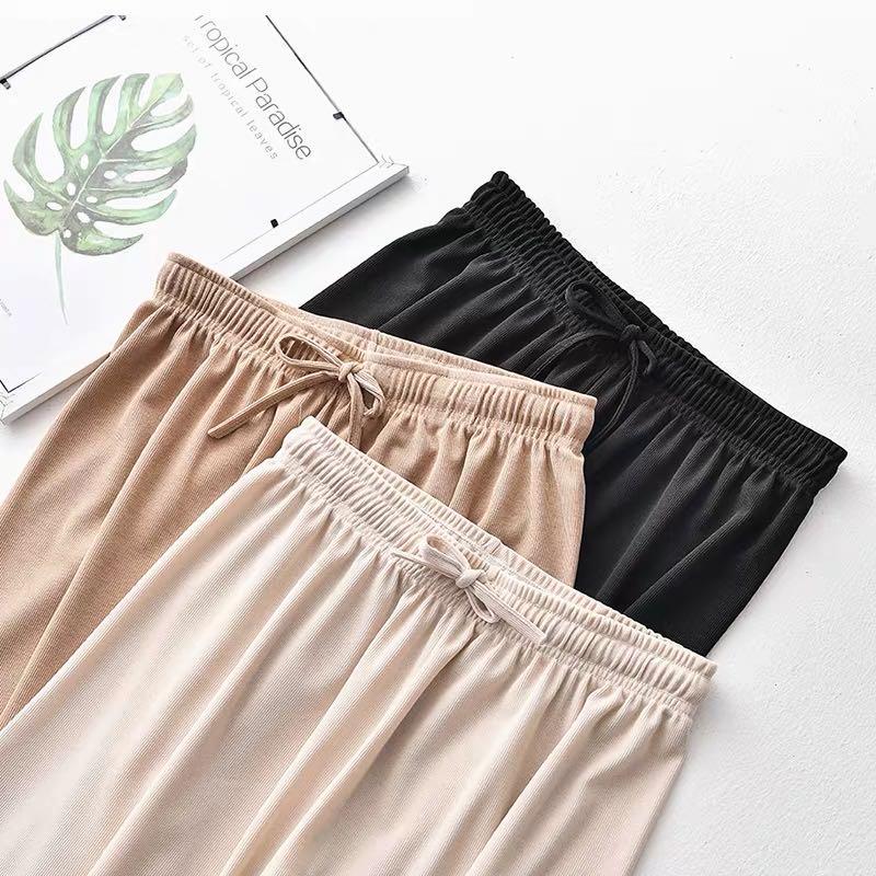 冰丝阔腿裤女裤夏薄款高腰宽松垂感2020新款拖地显瘦直筒休闲裤子