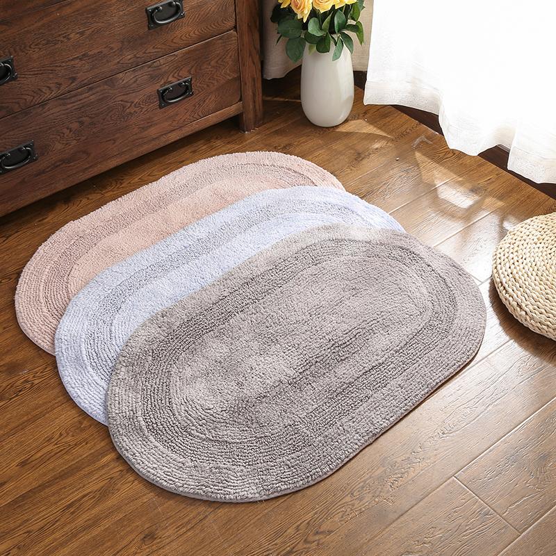 全棉雙面絨地墊橢圓形衛浴吸水防滑墊臥室吸塵進門墊兩面用可手洗